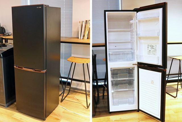 上段が冷蔵室(100L)、下段が冷凍室(62L)という構造の右開き2ドアタイプ。年間消費電力量は285kWh/年