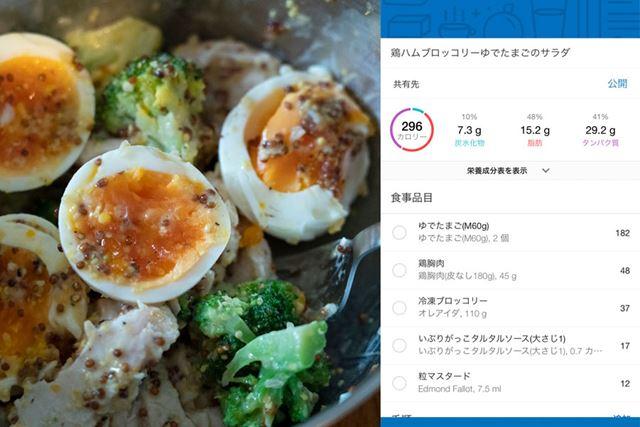 自家製鶏ハムのほか、ゆで卵とブロッコリーを和えたサラダ