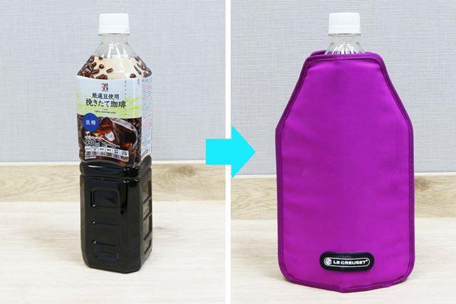 930mlの角張ったペットボトルにも装着可能。ワインだけでなく、ノンアルコール飲料の保冷にも使えます