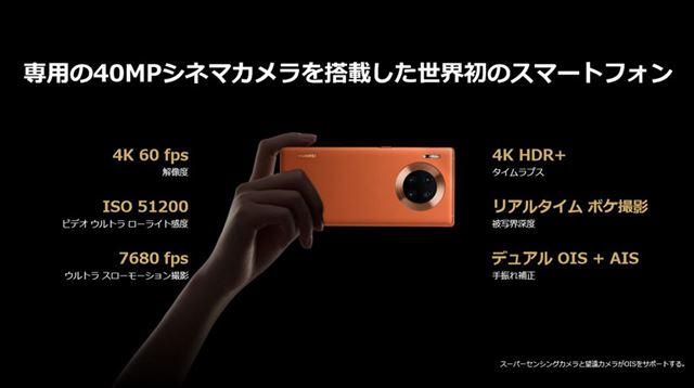 静止画カメラと並び、動画撮影機能においてもハードウェアレベルではスマートフォン最高レベル