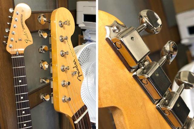 ギターのヘッドに6個か7個並んで付けられている金属パーツがペグ。裏面から取り付けられています