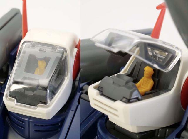 キャノピーには無色のクリアパーツが使用され、パイロットはHGUC版よりもリアルな体型になりました