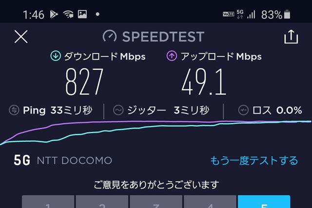 今回計測した中では、下り最大824Mbs、上り最大49Mbpsが最速だった