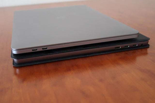厚さはMacBook Pro(13inch)とほぼ同じだ