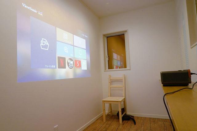 明るい部屋で画面と投写した様子