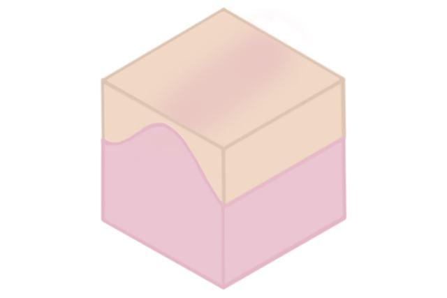 このように上の層の厚みを調整し、下の色を透けさせます