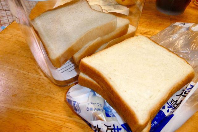 3目の様子。袋で保存しているほうのパンがやや硬くなってきました