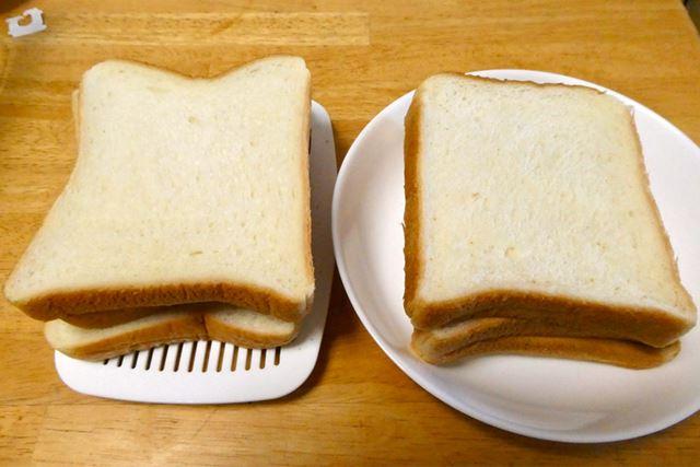 明らかに真空パンケース保存のパン(左)のほうが白く見えますよね