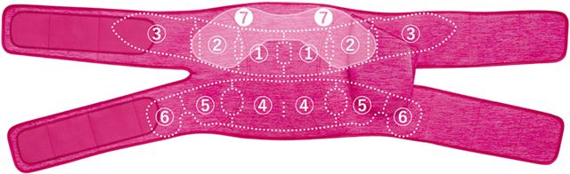 14個のエアーバッグは、このように配置。(7)が二重に配置されているエアーバッグです