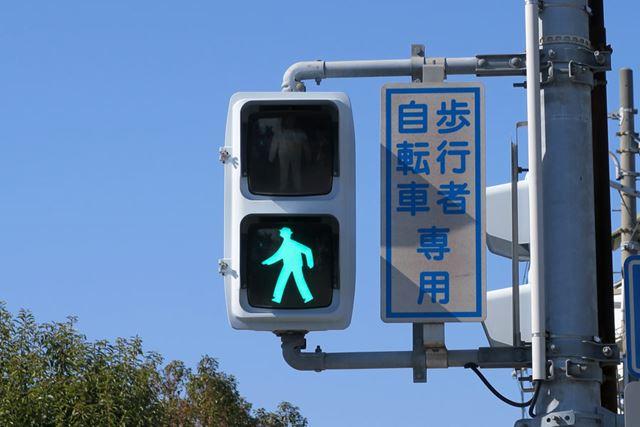 歩行者・自転車専用の信号機には、その旨を知らせる文言が記されている