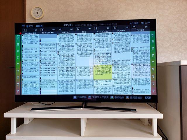 ハイセンス「55E8000」の番組表。画面デザインも操作性も東芝レグザとそっくり