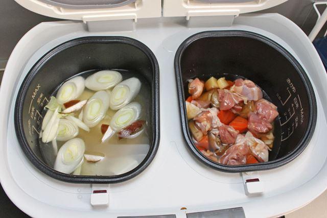 左の内鍋に筑前煮、右の内鍋に豆腐の味噌汁の食材をセットします。そして……