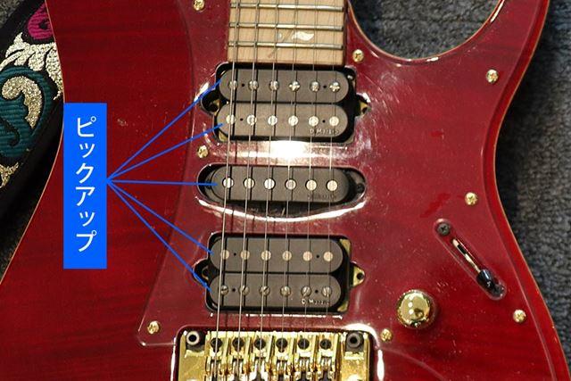 ピックアップは、弦の振動を拾うパーツです