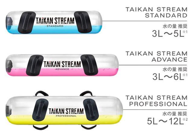 今回は、真ん中のグレードの「タイカンストリーム アドバンス」を使用。3〜6L(3〜6kg)の水を入れられます