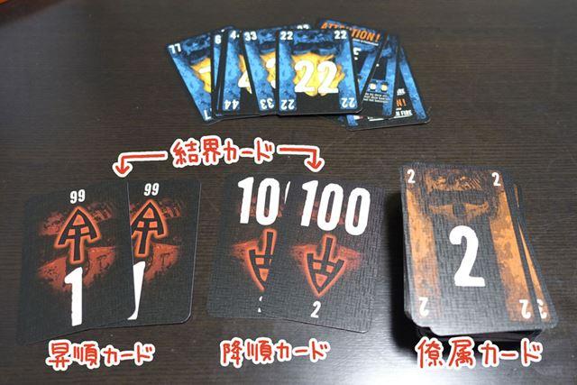 中身はこんな感じ。「青いカード」は上級者向けのルールで使用します