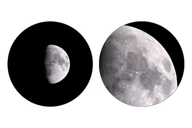 同モデルで観察した月のイメージ(左/低倍率、右/高倍率)。月の表面のクレーターなどがはっきりと見える