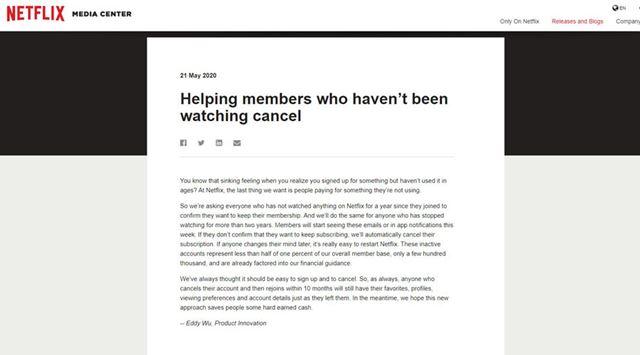 Netflixが長期間使用していないユーザーのサブスクを自動でキャンセルへ