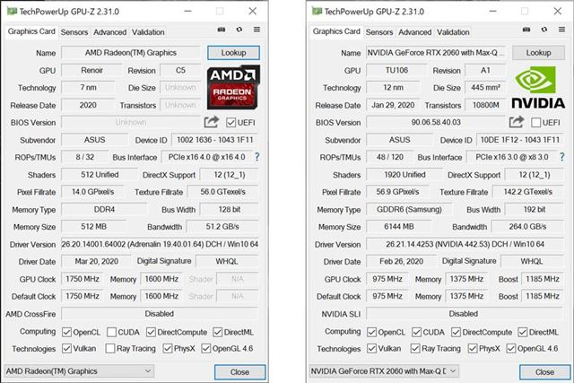 GPUはAPU内蔵の「AMD Radeon Graphics」と外付けのGeForce RTX 2060 with Max-Q Designが利用できる