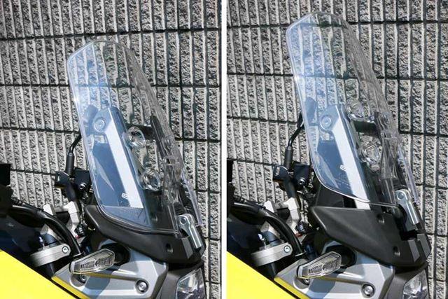 ウインドスクリーンの高さ調整は標準モデルが3段階、「XT」は11段階