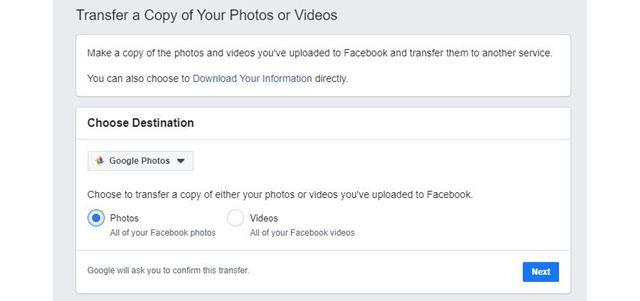 FacebookからGoogle Photoに画像や動画を転送できるように