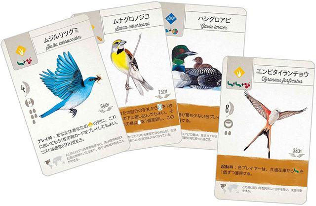 プレイヤーは、野鳥の特徴をとらえた特殊能力を使って、ゲームを優位に進めていく