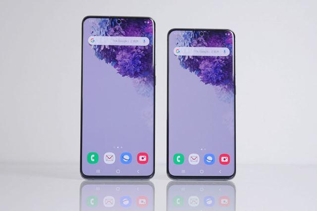 左が「Galaxy S20+ 5G」、右が「Galaxy S20 5G」