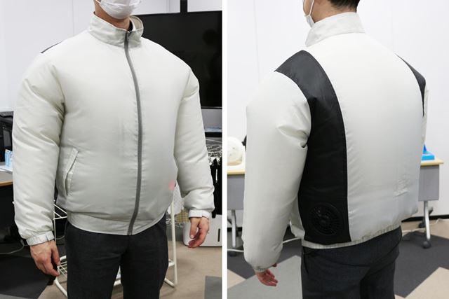 クールウェア長袖セットを風量4で着用した様子。かなりふくらむので、街中で着ると目立ちそうです