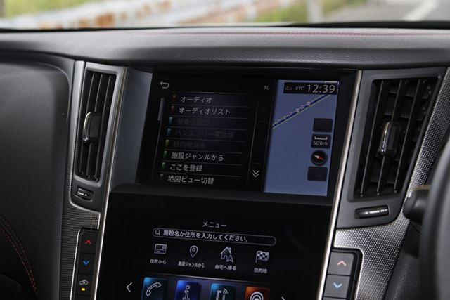 日産「スカイライン 400R」中央のディスプレイ画面(上段)