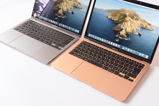 左がMacBook Proの13インチモデル、右がMacBook Air(2020年モデル)。どちらもキーボードはMagic Keyboard