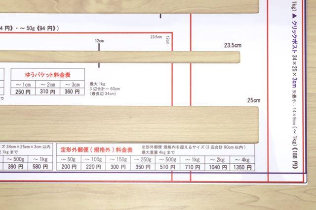 厚みだけじゃなくて、対応サイズや価格表も印刷されているのは地味に使いやすい