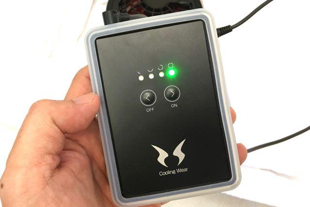 スイッチ操作は、シンプル。ボタン2つで電源のオン/オフや風の強弱4段階を操作する
