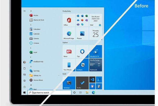 Windows 10のスタートメニューのデザインが変更され、より見やすくなります