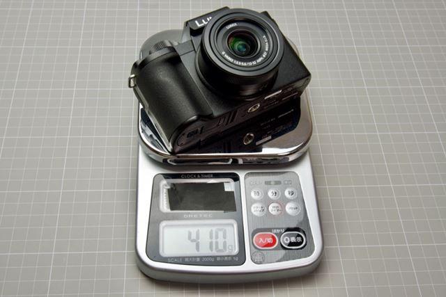 「LUMIX DC-G100」の実測重量は410g(SD カード、バッテリー込み)