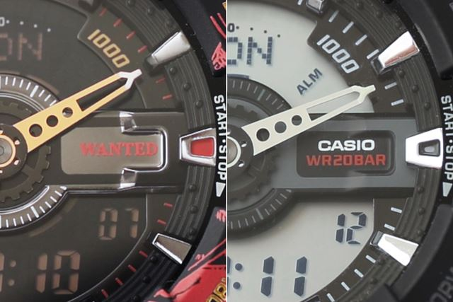 おたずね者であることを表す「WANTED」の表記も。右はベースの「GA-110-1AJF」