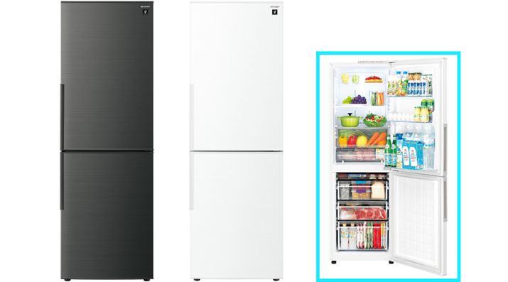 """Bố cục là """"phòng tủ lạnh"""" và """"phòng đông lạnh"""" từ trên xuống.  Không gian lắp đặt cũng giống như SJ-AK31G và """"SJ-PD28F"""" (với dung tích lưu trữ 280L), có chiều cao thấp hơn 13cm, cũng có sẵn.  SJ-PD28F không có chức năng mạng LAN không dây"""