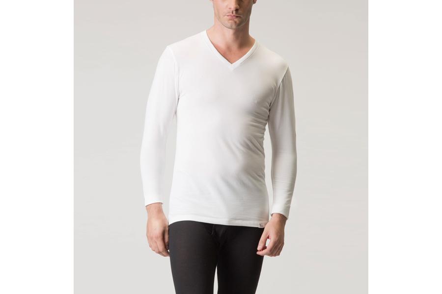 セーレン「デオエスト/ウォーム メンズ『消臭アンダーシャツVネック8分袖』ホワイト Lサイズ」
