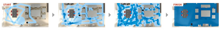 ルンバの走行の軌跡を青色で表示。複数回通ったところは、濃い青色へ変化しています。家具やお部屋の状況も瞬時に判断して、くまなく、すみずみまでキレイに。家具が多くても的確に行動してお部屋をお掃除。
