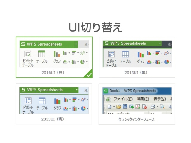 クラシックUI含む4種類のUIに切り替えが可能なので、なじみのあるUIを選んでお使いいただけます。