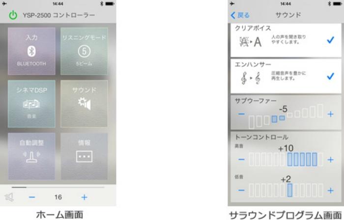 専用コントロールアプリ「HOME THEATER CONTROLLER」操作画面例(スマートフォン版)