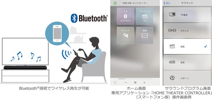 Bluetooth®に対応し、スマートフォンなどから専用アプリによる再生・操作等が可能