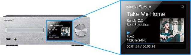 アルバムアートも大きく表示するカラー液晶。