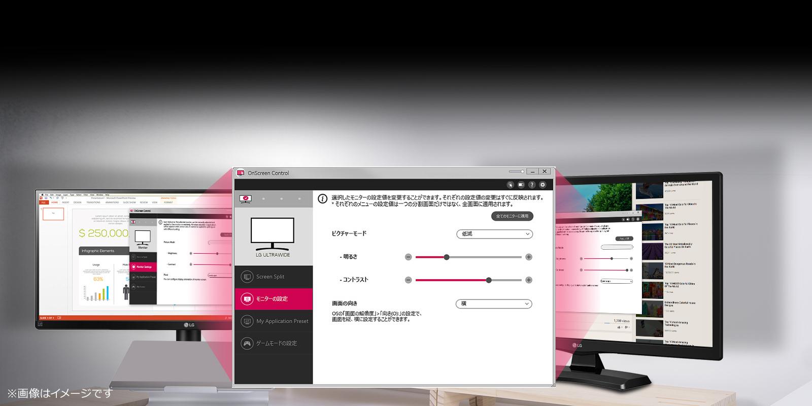 OnScreen Control機能で広域な表示領域を有効活用