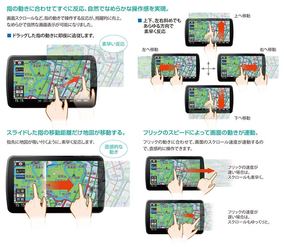 ダイレクトレスポンスNEW 素早く反応する地図画面だから、運転にゆとりがでる。