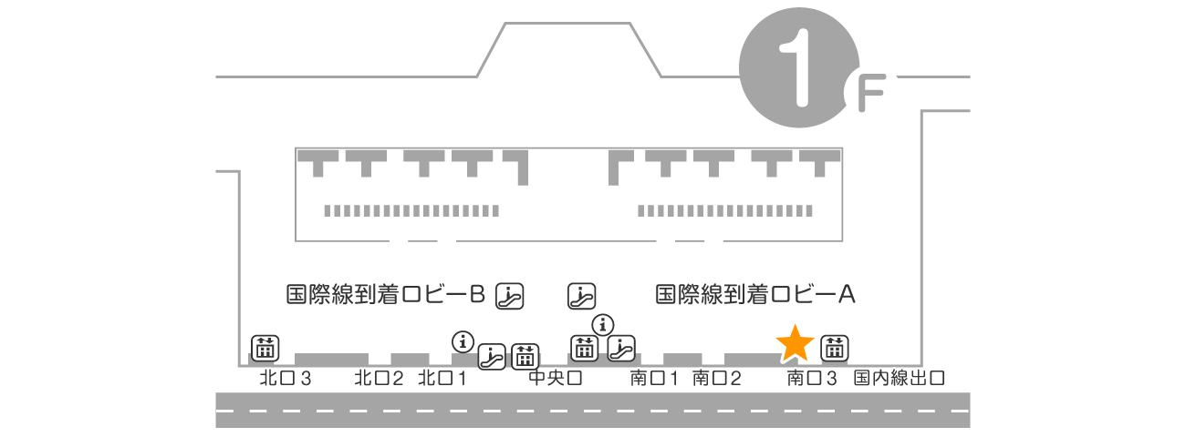 成田空港 第2ターミナル 1F 到着ロビー QLライナー返却カウンター