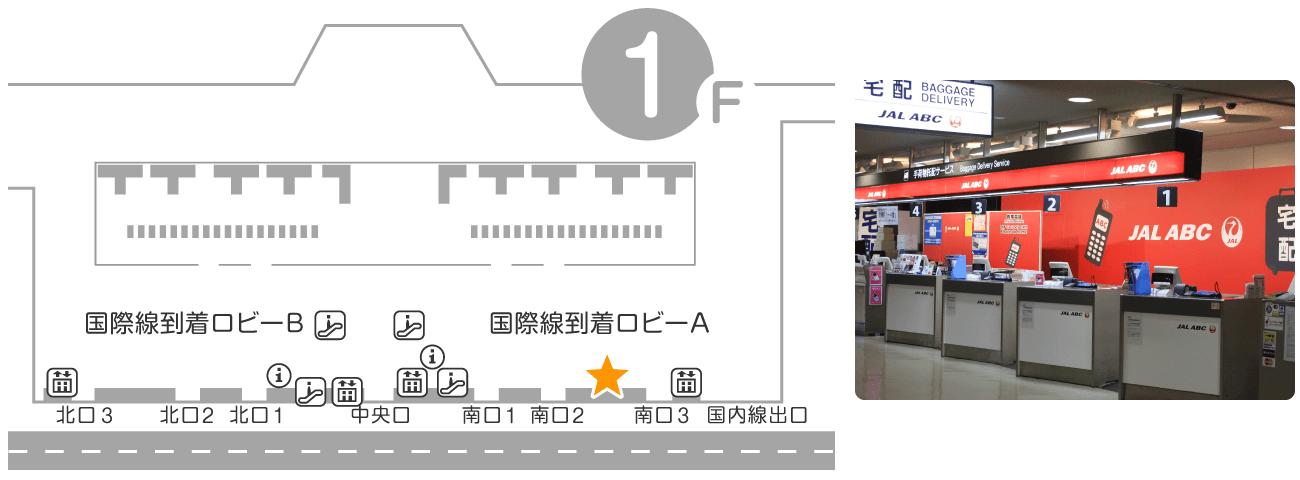成田空港 第2ターミナル 1F 到着ロビー JALABCカウンター
