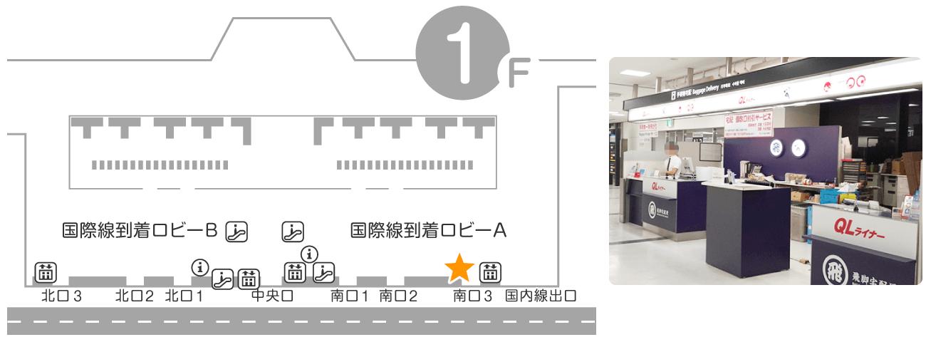 成田空港 第2ターミナル 1F 到着ロビー QLライナーカウンター