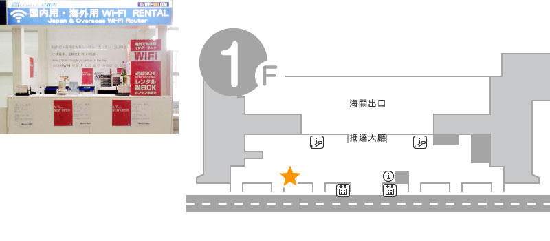 國際航航廈 1樓 北門旁邊的餐聽前 Global WiFi 櫃台
