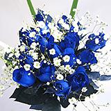 青いバラ10本&カスミ草 グリーン付きバラの花束