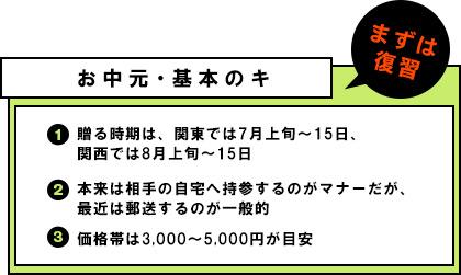 お中元・基本のキ �@贈る時期は、関東では7月上旬〜15日、関西では8月上旬〜15日 �A本来は相手の自宅へ持参するのがマナーだが、最近は郵送するのが一般的 �B価格帯は3,000〜5,000円が目安