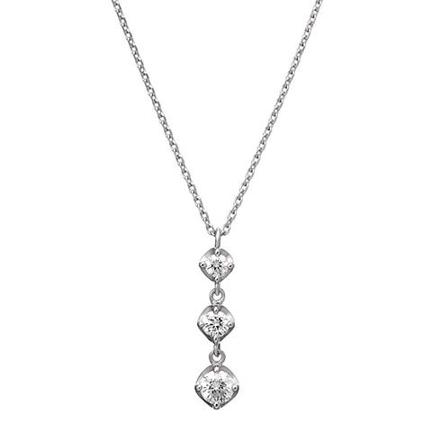 4℃(ヨンドシー)ダイヤモンドのスリーストーンネックレス